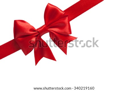 single shiny gift bow, red satin, with one ribbon isolated on white - stock photo