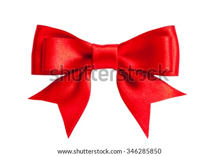 single shiny red ribbon satin bow isolated on white - stock photo