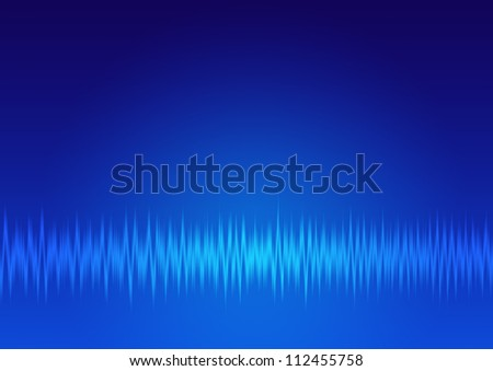 single signals, music wave, sound frequency background - blue - stock photo