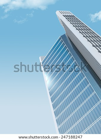 single skyscraper on sky background,digitally generated image.