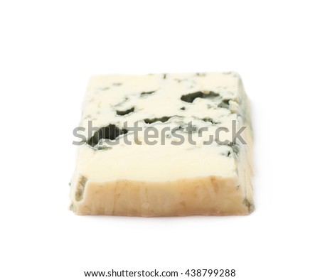 Single slice of a blue roquefort cheese isolated over the white background