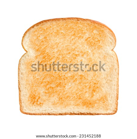 Single Slice of lightly toasted white bread isolated on a white background. - stock photo