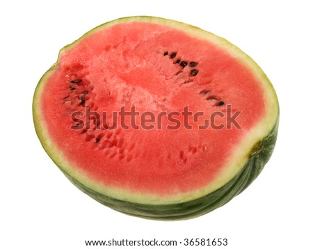 Single slice of ripe watermelon. Close-up. Isolated on white background.