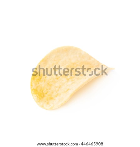 Single slice of the flavoured potato chip isolated over the white background