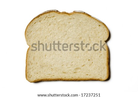 Single slice of white bread on a white background
