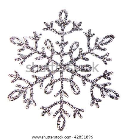 Single snowflake photo isolated on white background - stock photo