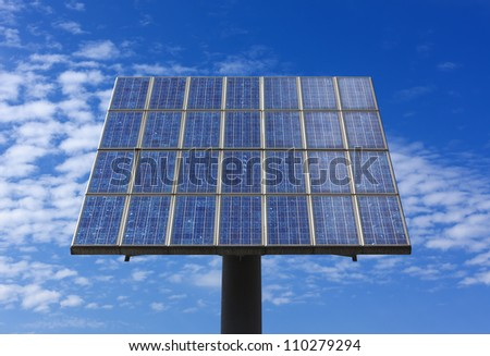 single solar panel and summer sky