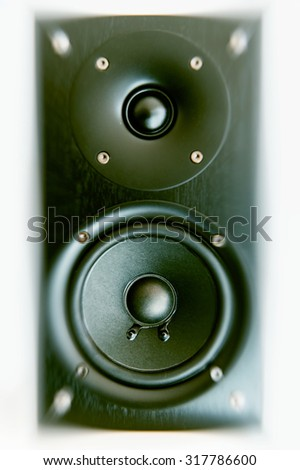 Single sound system detail close-up in recording studio electroacoustic treble and bass booster - stock photo