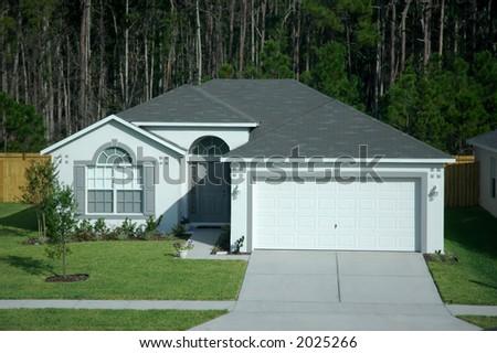 Single storey bungalow house - stock photo