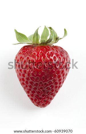Single strawberry on a white background - stock photo