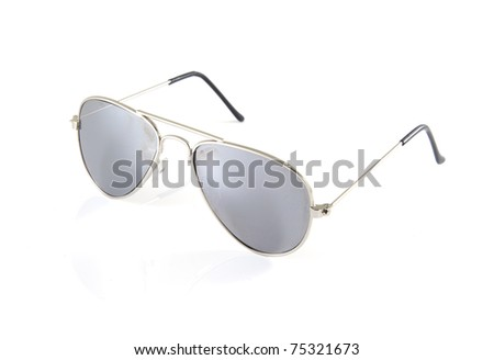 Single sunglasses on a white background. - stock photo