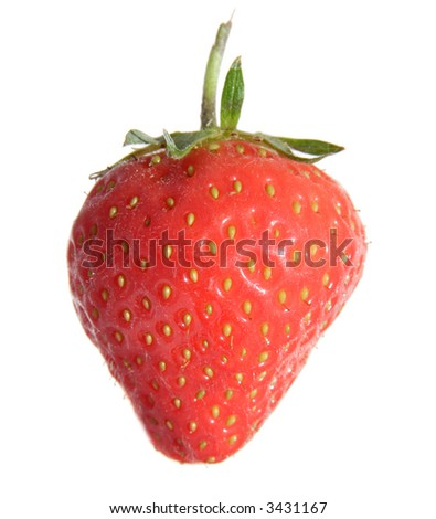 single sunlit strawberry over white background,