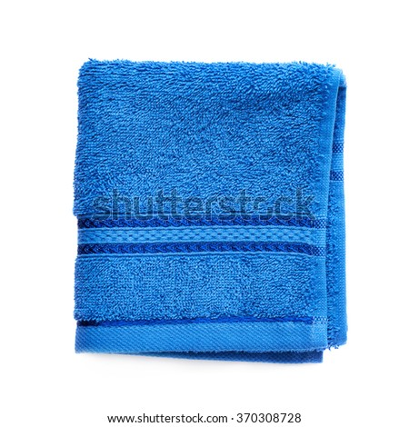 Single terry cloth towel isolated - stock photo