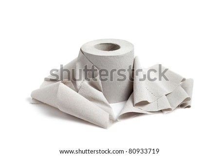 Single toilet paper isolated on a white background - stock photo