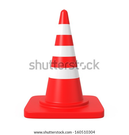 Single traffic cone with clipping path