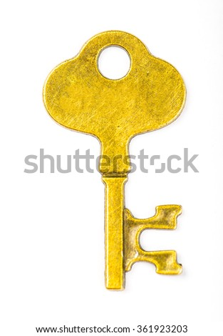 Single vintage key with isolated with white background.