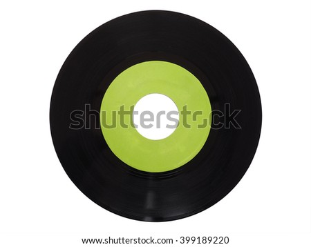 Single vinyl record vintage analog music recording medium 45 rpm isolated over white, green label