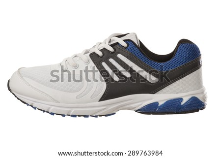 single white and blue shoe for men on a white background, side view of sneaker