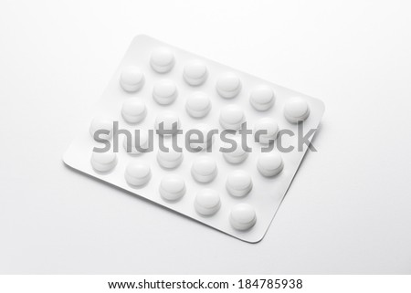 Single white Blister packaging with Tablets drugs mix doctor pills antibiotic pharmacy medicine medical - stock photo