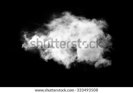 Single white cloud isolated over black background - stock photo