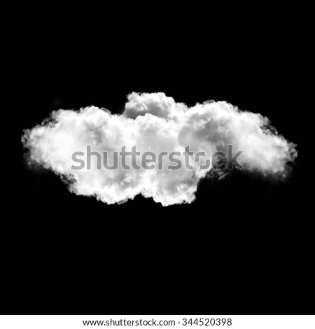 Single white cloud isolated over black background, cloud shape illustration - stock photo
