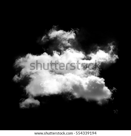 Single white cloud isolated over black background, 3D rendering cloud shape high resolution illustration
