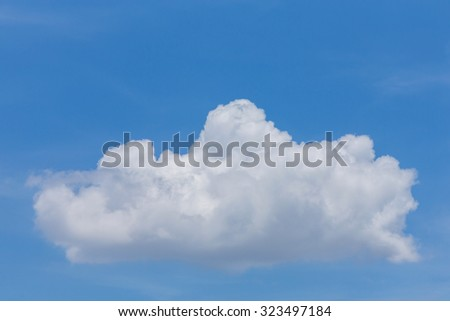 single white cloud on clear blue sky background - stock photo