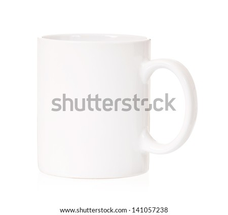 Single white cup, isolated on white background