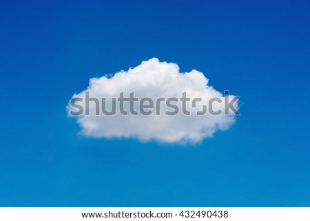 Single white nature cloud on clear blue sky background in daytime - stock photo