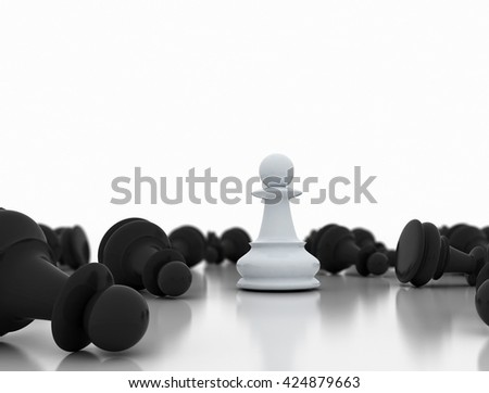 Single white pawn on a chess board surrounded by a number of fallen black chess pieces with selective focus. 3d render
