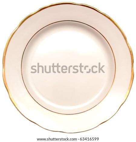 single white plate isolated on white background - stock photo