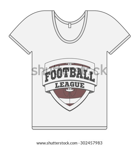 Single white T-Shirt with Football Label. Illustration
