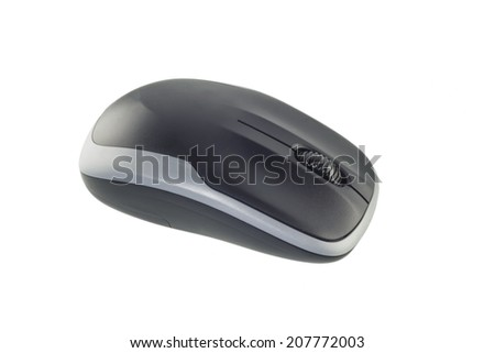 Single wireless computer mouse on white background.