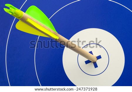 Single Wood Arrow in Center of Blue and White Target. - stock photo