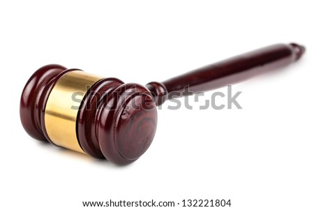 Single wooden brown gavel isolated on white background - stock photo