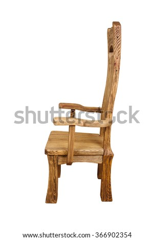 Single wooden chair isolated on the white background
