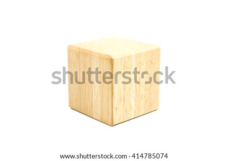 Single wooden geometric cube block isolated on white background