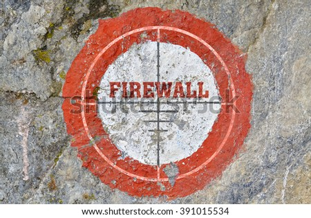 Single word Firewall in the center of a red circle on textured background - stock photo