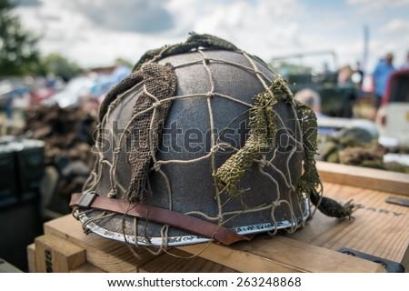 Single WWII helmet. - stock photo