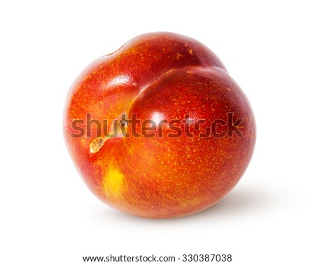 Single yellow and red plum horizontally isolated on white background