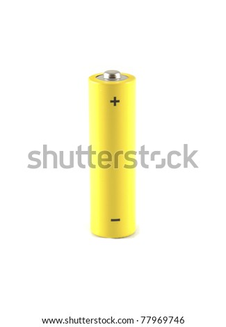Single yellow battery on a white background
