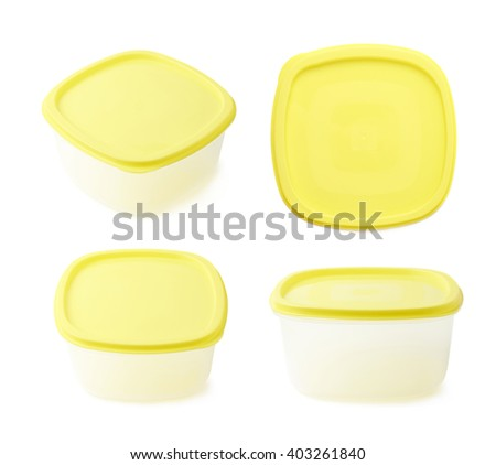 Single yellow plastic food container isolated over the white background, set collection of four different foreshortenings - stock photo
