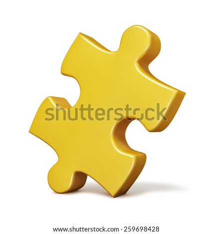 Single yellow puzzle piece isolated on white background - stock photo