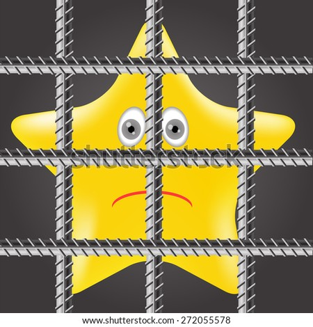 Single Yellow Star is Behind Prison Bars - stock photo