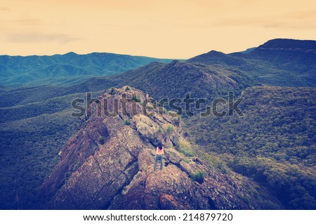 Single young woman looks out with determination on a mountain top with Instagram style filter - stock photo