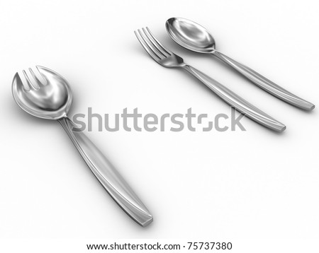Singularity tableware. Isolated on white with shadows.