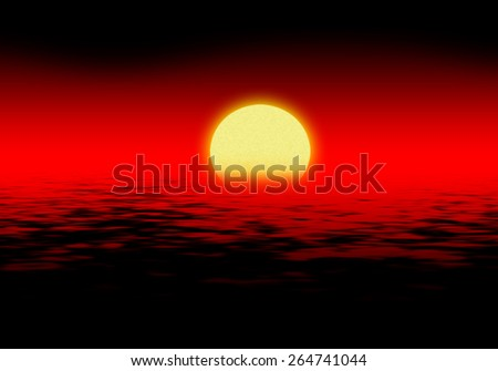 Sinister red sunset over the sea with black waves - stock photo