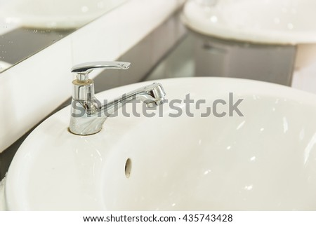 Sink in bathroom.Interior bathroom accessory.