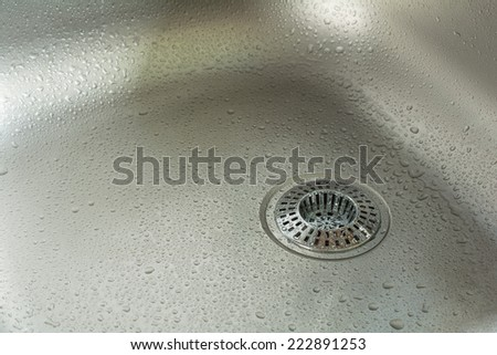 Sink With Waterdrops And Chrome Drain Strainer