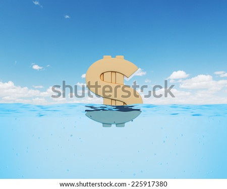 Sinking dollar sign.  - stock photo